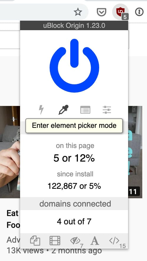 uBlock Origin Element Picker mode on Chrome